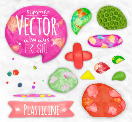 cobbled: Set of vector plasticine design elements cobbled together on a white plasticine background Stock Photo
