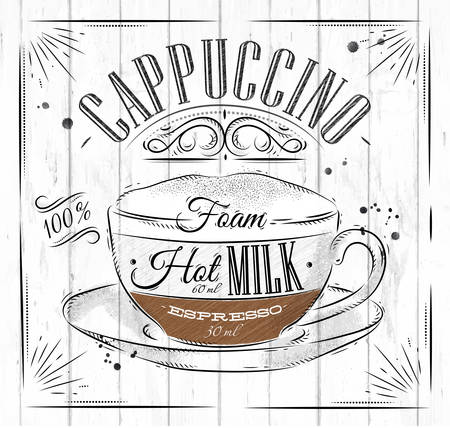 Poster coffee cappuccino in vintage style drawing on wood background Иллюстрация