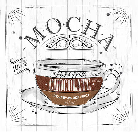 Poster coffee mocha in vintage style drawing on wood background