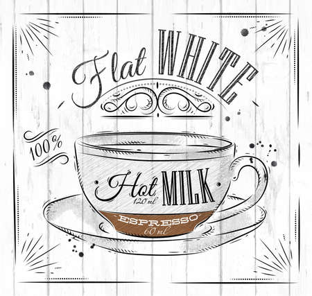 Poster coffee flat white in vintage style drawing on wood background Illustration