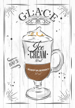 cafe menu: Poster coffee glace in vintage style drawing on wood background Illustration