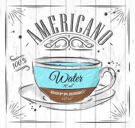 ビンテージ スタイルの木製の背景上に描画のポスター コーヒー アメリカーノ