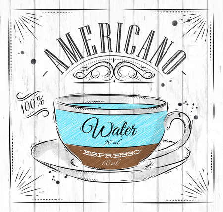 나무 배경에 빈티지 스타일 도면의 포스터 커피 아메리카
