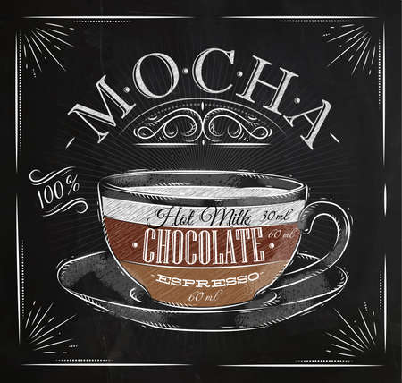 Poster coffee mocha in vintage style drawing with chalk on the blackboard 向量圖像