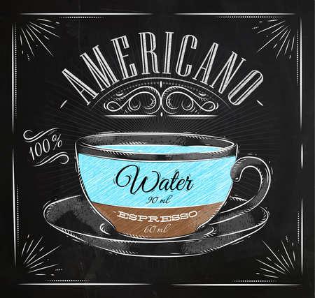 Poster koffie americano in vintage stijl tekening met krijt op het bord