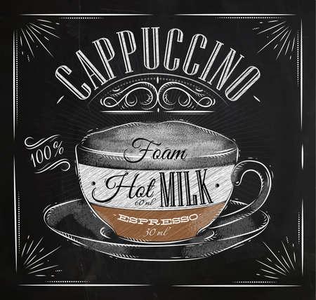 Café Affiche cappuccino dans le dessin de style vintage à la craie sur le tableau noir