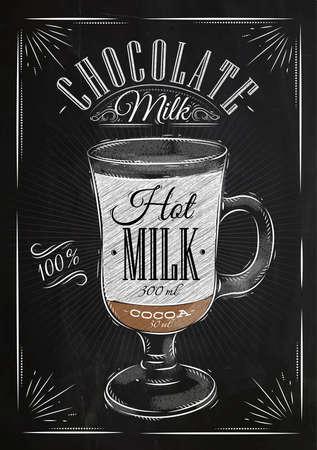 Poster koffie chocolademelk in vintage stijl tekening met krijt op het bord