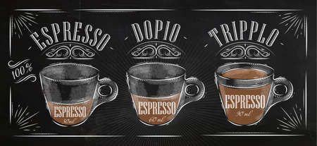 speisekarte: Poster Kaffee Espresso im Vintage-Stil Zeichnung mit Kreide an der Tafel Illustration