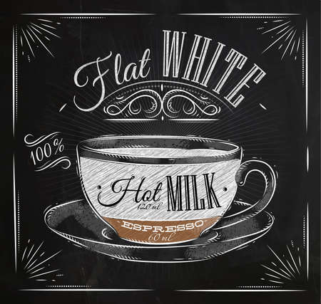 Poster coffee flat white in vintage style drawing with chalk on the blackboard Vectores