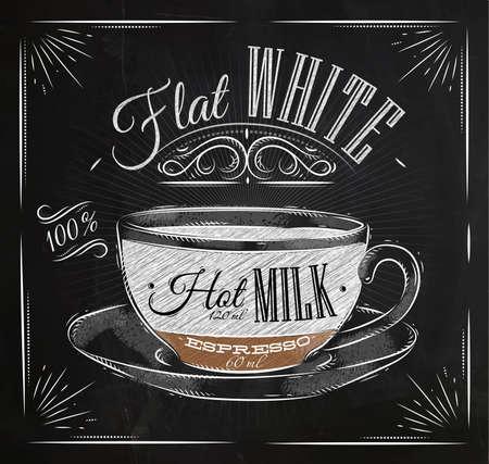 Poster koffie platte witte in vintage stijl tekenen met krijt op het bord