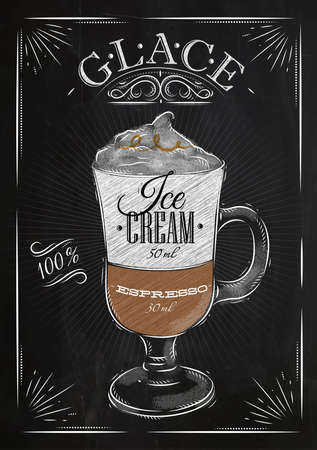 cappuccino: Poster coffee glace in vintage style drawing with chalk on the blackboard