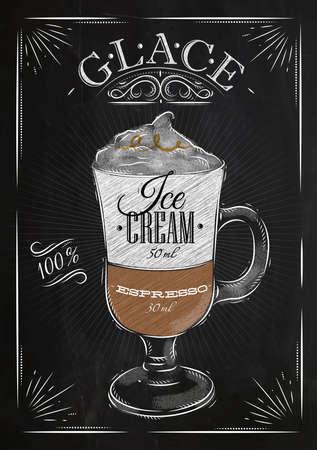 Poster koffie glace in vintage stijl tekening met krijt op het bord