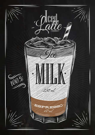 Poster coffee iced latte in vintage style drawing with chalk on the blackboard Vectores