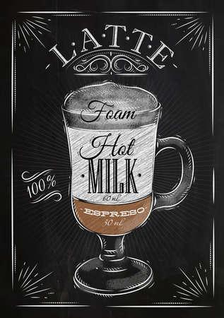 Latte café cartaz no desenho do estilo do vintage com giz no quadro-negro