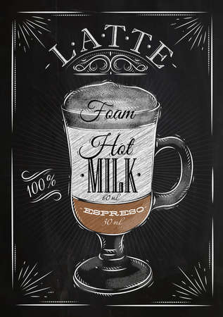 Poster coffee latte in vintage style drawing with chalk on the blackboard