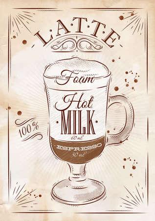 Café latte Affiche de dessin de style vintage Vecteurs