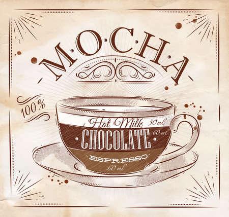 Café moka Affiche de dessin de style vintage