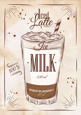 iced: Poster coffee iced latte in vintage style drawing  Illustration