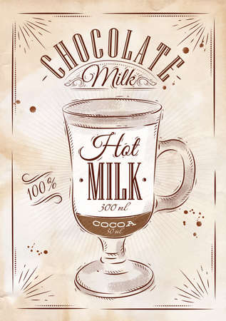 Poster coffee chocolate milk in vintage style drawing