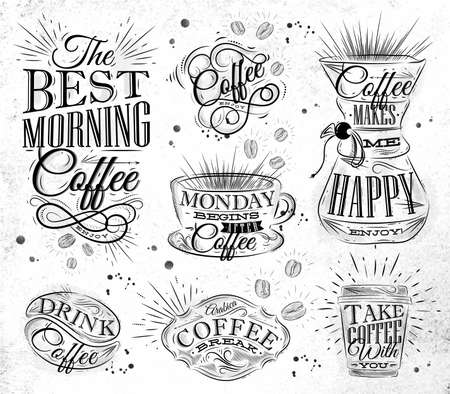 blackboard background: Set of coffee signs lettering drawing in vintage style on white dirty paper