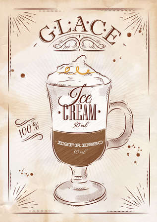 glace: Poster coffee glace in vintage style drawing