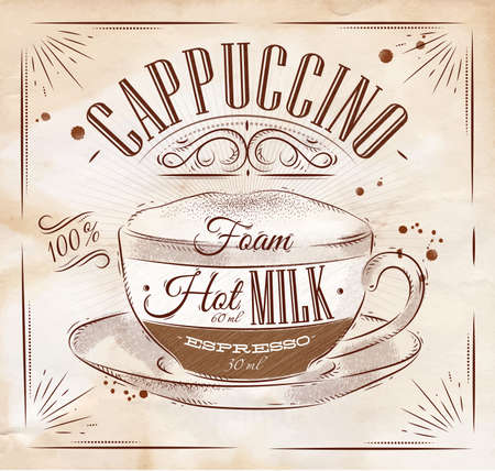 Poster coffee cappuccino in vintage style drawing