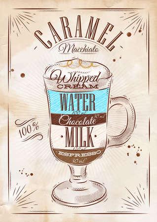 macchiato: Poster coffee caramel macchiato in vintage style drawing