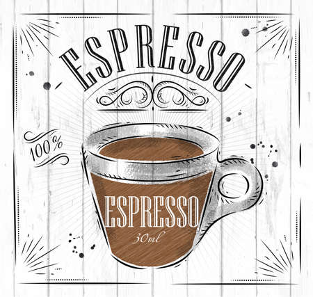 Poster coffee espresso in vintage style drawing on wood background Stok Fotoğraf - 43497107