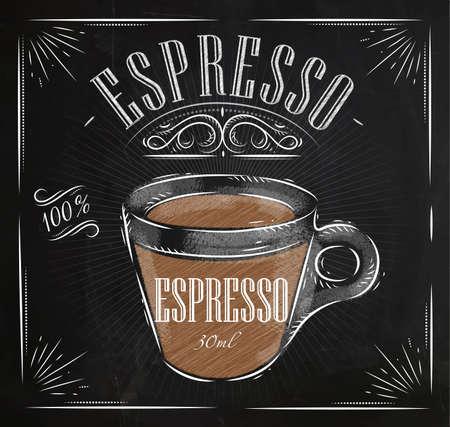 Ekspres do kawy w stylu plakatu rocznika rysunku kredą na tablicy