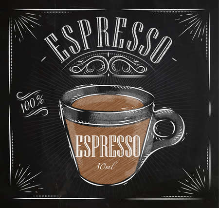 type: Poster coffee espresso in vintage style drawing with chalk on the blackboard