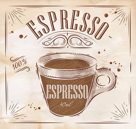 Poster coffee espresso in vintage style drawing 免版税图像 - 43497110