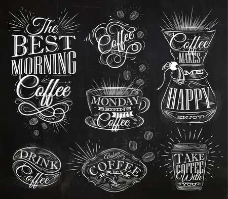 taza cafe: Conjunto de muestras de café de letras dibujo de tiza en el estilo vintage en la pizarra