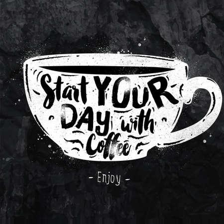 Poster tazza lettering iniziare la giornata con il disegno di caffè con il gesso sulla lavagna Vettoriali