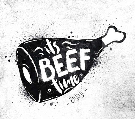 dirty paper: Poster beef lettering its beef time drawing black paint on dirty paper Illustration