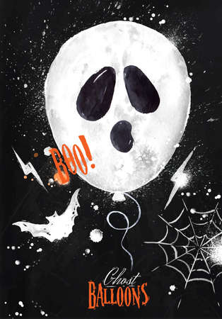 ghost cartoon: Halloween watercolor poster balloon with bat drawing on blackboard