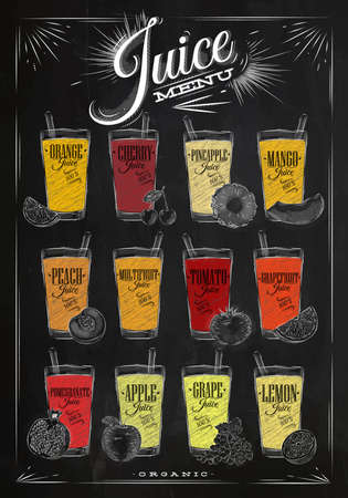 chalk drawing: Poster juice menu with glasses of different juices drawing with chalk on the blackboard