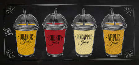 jugo de frutas: Conjunto Cartel de tazas con cúpula y diferentes jugos de dibujo con tiza en la pizarra