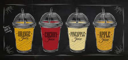 verre de jus d orange: Ensemble de tasses avec coupole et différents jus de dessin à la craie sur le tableau noir affiche Illustration