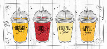 Poster set of cups with dome and different juices drawing on wood background