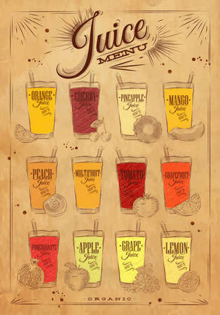 pineapple juice: Poster juice menu with glasses of different juices drawing on kraft background Illustration