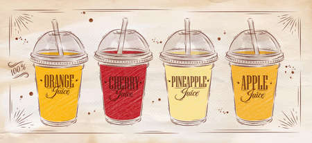 beverage: Poster set of cups with dome and different juices drawing on kraft