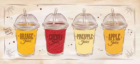 bebida: set cartaz de copos com cúpula e sucos diferentes com base em kraft Ilustração