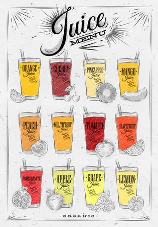 Poster juice menu with glasses of different juices drawing on background of dirty paper