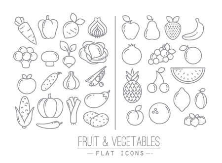 Set of flat fruits and vegetables icons drawing with black lines on white background Çizim