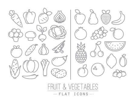Set van platte groenten en fruit iconen tekenen met zwarte lijnen op een witte achtergrond