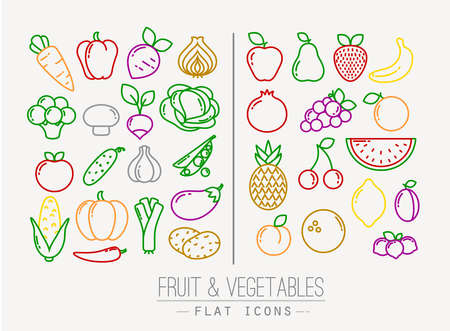 frutas: Conjunto de frutas y verduras iconos planos de dibujo con líneas de colores sobre fondo blanco Vectores