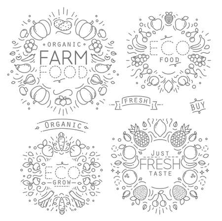 grapes and mushrooms: Set of flat fruits and vegetables monograms drawing with black lines on white background