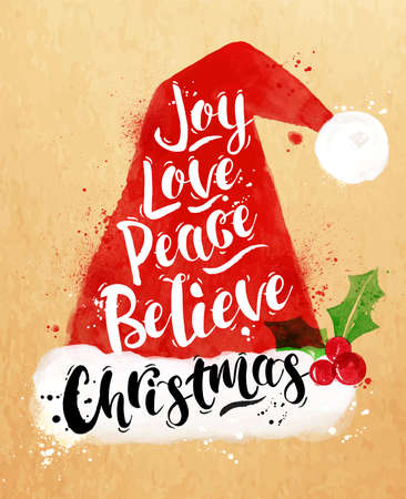Watercolor poster Christmas Santa hat lettering joy, love, peace, believe, Christmas drawing in vintage style on kraft paper