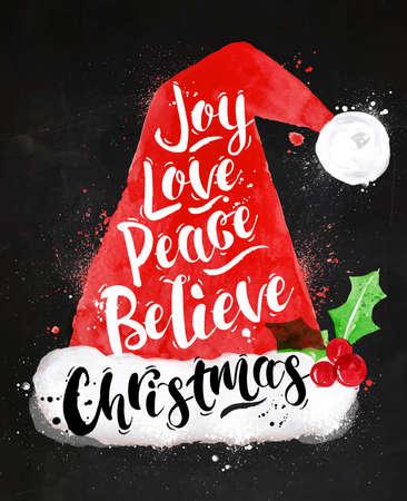 Watercolor Christmas poster Santa hat lettering joy, love, peace, believe, Christmas drawing in vintage style on kraft paper