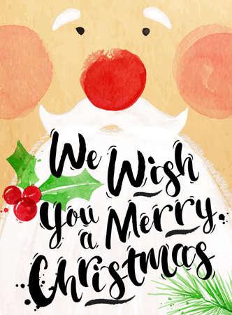 papa noel: Cartel de la acuarela de Santa letras le deseamos una Feliz Navidad de dibujo en el estilo vintage en el papel kraft